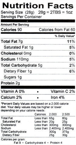 Toasted Sesame Hummus Nutritional Information